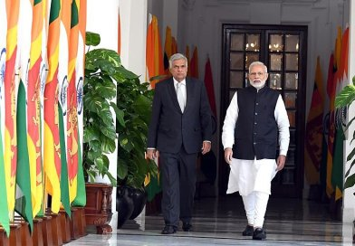 Sri Lanka's Prime Minister Ranil Wickremesinghe with India's Prime Minister Narendra Modi. Photo Credit: India PM Office