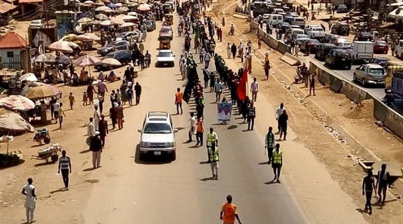Nigerian Muslims and members of the Islamic Movement hold a rally on towards Abuja to mark the annual Arbaeen march. Photo Credit: Tasnim News Agency.