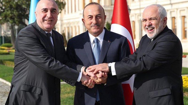 Iranian Foreign Minister Mohammad Javad Zarif, Turkey's Mevlut Cavusoglu and Azerbaijan's Elmar Mammadyarov. Photo Credit: Tasnim News Agency.