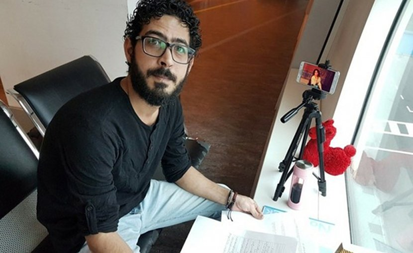 Hassan Al Kontar, a Syrian who spent months at the Kuala Lumpur International Airport 2 terminal building after he said he tried but failed to fly to Ecuador in March, is seen at the airport on Aug. 3, 2018. Courtesy of Hassan Al Konta