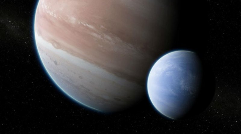 This is an artist's impression of the exoplanet Kepler-1625b, transiting the star, with the candidate exomoon in tow. Credit Dan Durda