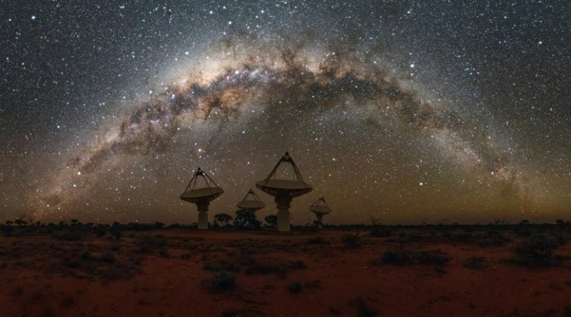 These are antennas of CSIRO's Australian SKA Pathfinder with the Milky Way overhead. Credit Alex Cherney/CSIRO