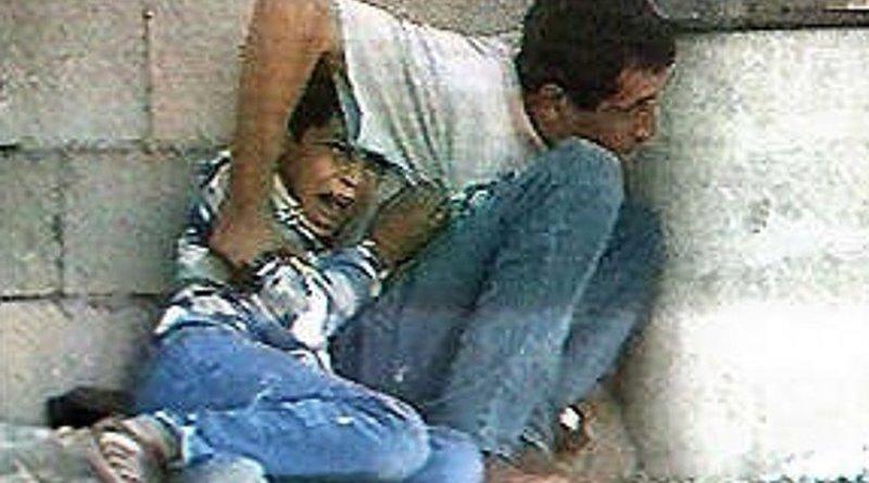 Muhammad and Jamal al-Durrah filmed by Talal Abu Rahma for France 2