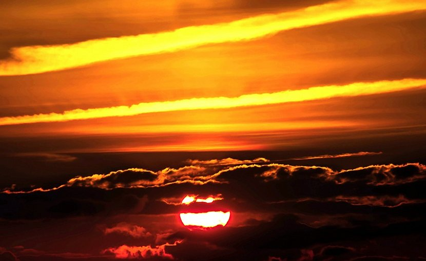 contrails aviation airplane transportation sunset