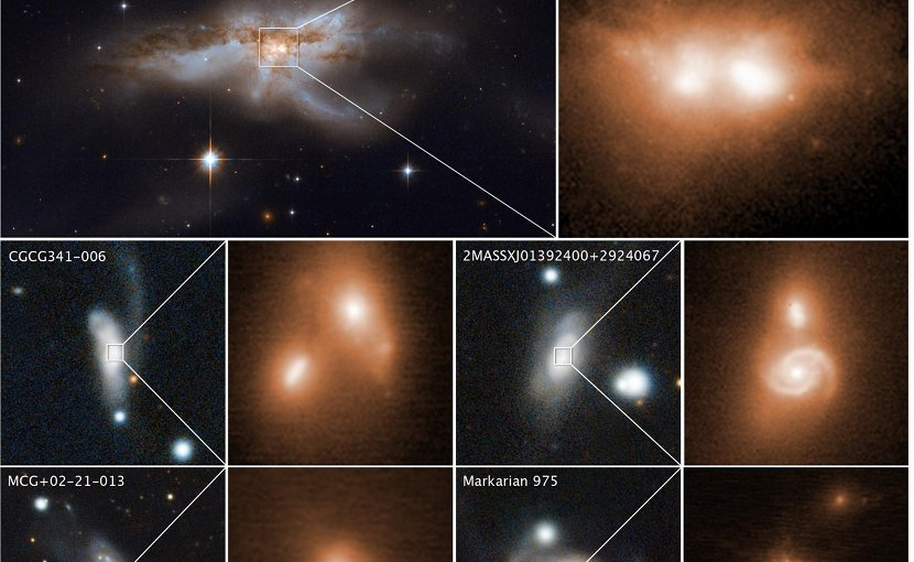 These images reveal the final stage of a union between pairs of galactic nuclei in the messy cores of colliding galaxies. The image at top left, taken by Hubble's Wide Field Camera 3, shows the merging galaxy NGC 6240. A close-up of the two brilliant cores of this galactic union is shown at top right. This view, taken in infrared light, pierces the dense cloud of dust and gas encasing the two colliding galaxies and uncovers the active cores. The hefty black holes in these cores are growing quickly as they feast on gas kicked up by the galaxy merger. The black holes' speedy growth occurs during the last 10 million to 20 million years of the merger. Images of four other colliding galaxies, along with close-up views of their coalescing nuclei in the bright cores, are shown beneath the snapshots of NGC 6240. The images of the bright cores were taken in near-infrared light by the W. M. Keck Observatory in Hawaii, using adaptive optics to sharpen the view. The reference images (left) of the merging galaxies were taken by the Panoramic Survey Telescope and Rapid Response System (Pan-STARRS). The two nuclei in the Hubble and Keck Observatory photos are only about 3,000 light-years apart -- a near-embrace in cosmic terms. If there are pairs of black holes, they will likely merge within the next 10 million years to form a more massive black hole. These observations are part of the largest-ever survey of the cores of nearby galaxies using high-resolution images in near-infrared light taken by the Hubble and Keck observatories. The survey galaxies' average distance is 330 million light-years from Earth. Credit NASA, ESA, and M. Koss (Eureka Scientific, Inc.); Keck images: W. M. Keck Observatory and M. Koss (Eureka Scientific, Inc.); Pan-STARRS images: Panoramic Survey Telescope and Rapid Response System and M. Koss (Eureka Scientific, Inc.)