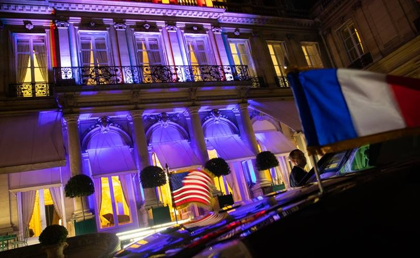 The U.S. Ambassador to France residence is lit in the colors of the United States and France for the arrival Friday evening, Nov. 9, 2018, of President Donald J Trump and First Lady Melania Trump to Paris. (Official White House Photo by Shealah Craighead)