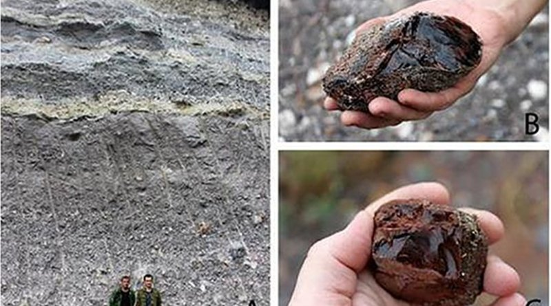 """A - obsidian in rocks formed during the eruption; B, C - obsidian boulders (""""bombs""""), differing in color and shape. Credit Ekaterina V. Doronicheva et al. / Journal of Archaeological Science: Reports 2018"""
