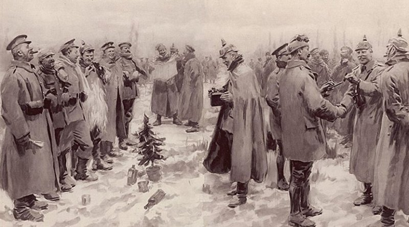 """The Illustrated London News's illustration of the Christmas Truce: """"British and German Soldiers Arm-in-Arm Exchanging Headgear: A Christmas Truce between Opposing Trenches"""" The subcaption reads """"Saxons and Anglo-Saxons fraternising on the field of battle at the season of peace and goodwill: Officers and men from the German and British trenches meet and greet one another—A German officer photographing a group of foes and friends."""" Source: A. C. Michael - The Guardian. Originally published in The Illustrated London News, January 9, 1915, Wikipedia Commons."""