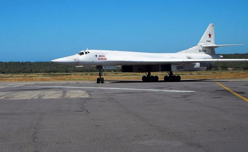 A Russian Tu-160 heavy strategic bomber on the tarmac in Maiquetia, Venezuela, on December 10. Photo Credit: Russia's Defense Ministry