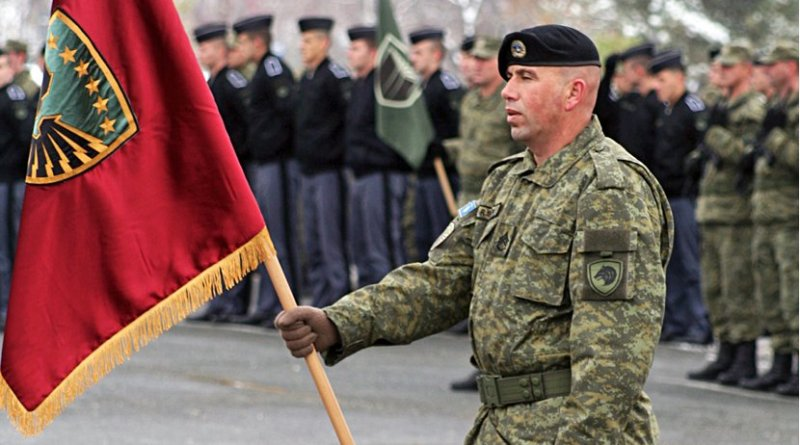 Kosovo Security Force's Standard-bearer. Photo Credit: SUHEJLO, Wikipedia Commons.