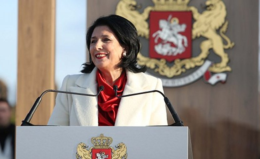Salome Zurabishvili delivering her inauguration speech in the courtyard of the Palace of Erekle II, king of Kakheti and Kartli in the mid and late 18th century. Photo: President's press office