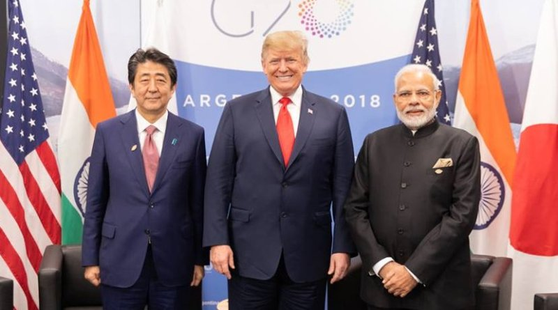 President Donald J. Trump participates in a trilateral meeting Friday, Nov. 30, 2018, with Japanese Prime Minister Shinzo Abe and India Prime Minister Narenda Modi at the G20 Summit in Buenos Aires, Argentina. (Official White House Photo by Shealah Craighead)
