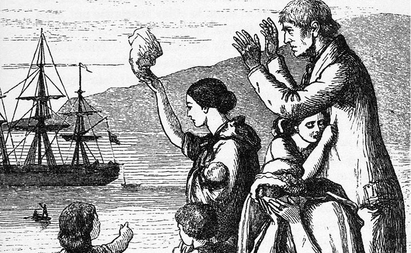 Engraving of Emigrants leaving Ireland by Mary Frances Cusack. Credit: Wikipedia Commons.
