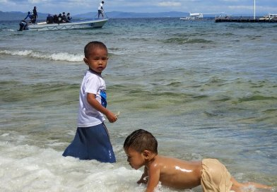 Philippines children playing beach