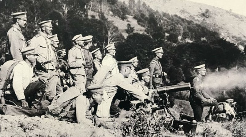 A machine gun training exercise for soldiers. The huge frontline casulties were caused by the technological improvement of deadly weapons in the preceeding decades. Photo: National Archives of Bulgaria.