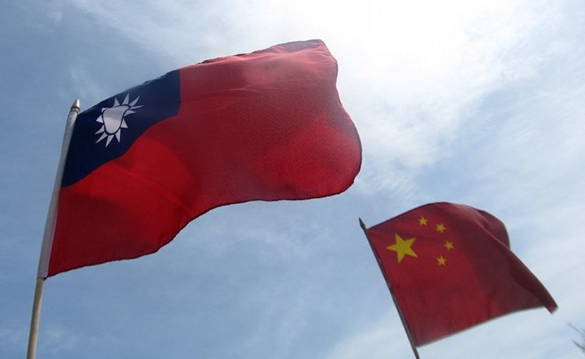 Flags of the Republic of China (Taiwan) and the People's Republic of China. CC BY-SA 4.0