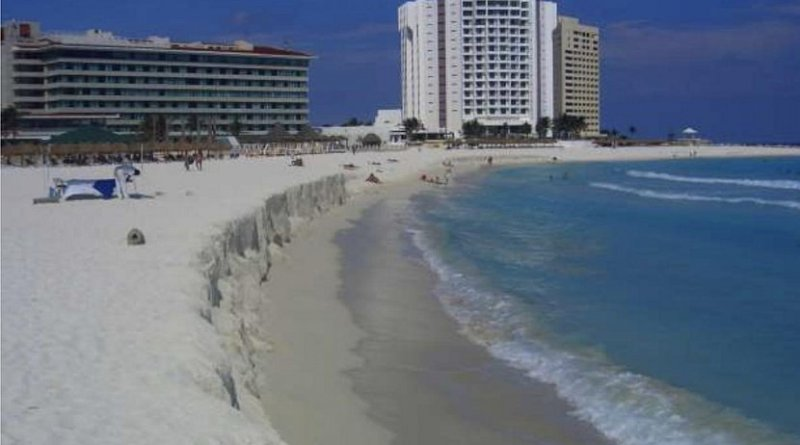 Regular sand nourishments are required on Cancun beach to maintain it, but start eroding immediately. Credit Rodolfo Silva