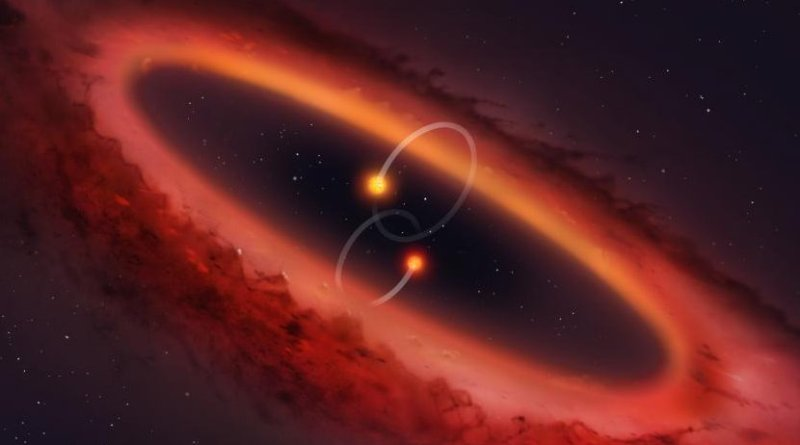 Artist's impression of a view of the double star system and surrounding disc. Credit University of Warwick/Mark Garlick