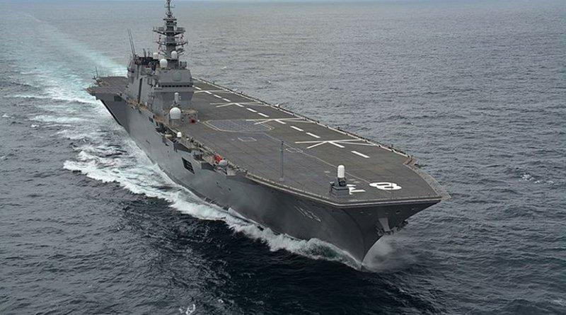 A view of Japan's Izumo carrier. Photo Credit: Kaijō Jieitai(海上自衛隊 / Japan Maritime Self-Defense Force), Wikipedia Commons.