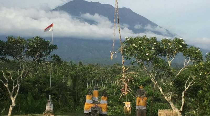 View of Mount Agung on Nov. 10, 2017, from the Rendang Volcano Observatory, operated by CVGHM. Credit Jake Lowenstern, US Geological Survey.