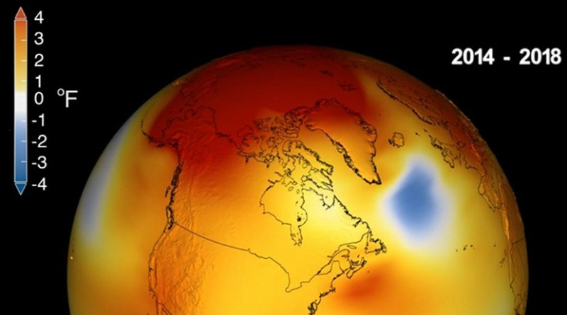 Earth's long-term warming trend can be seen in this visualization of NASA's global temperature record, which shows how the planet's temperatures are changing over time, compared to a baseline average from 1951 to 1980. The record is shown as a running five-year average. Credit Credits: NASA's Scientific Visualization Studio/Kathryn Mersmann