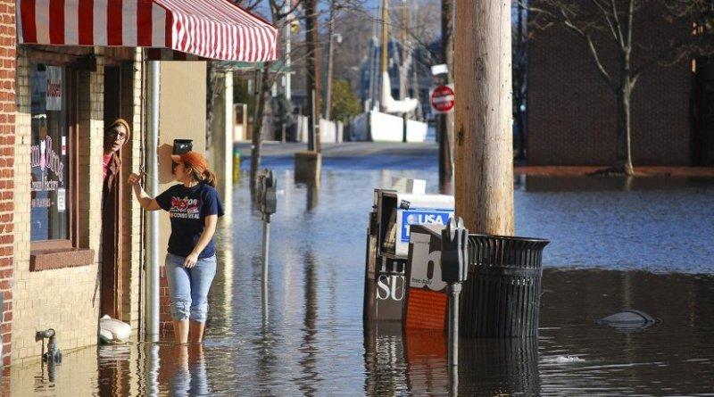 Storm surge floods Dock Street in downtown Annapolis, Maryland. Credit Matt Rath/Chesapeake Bay Program