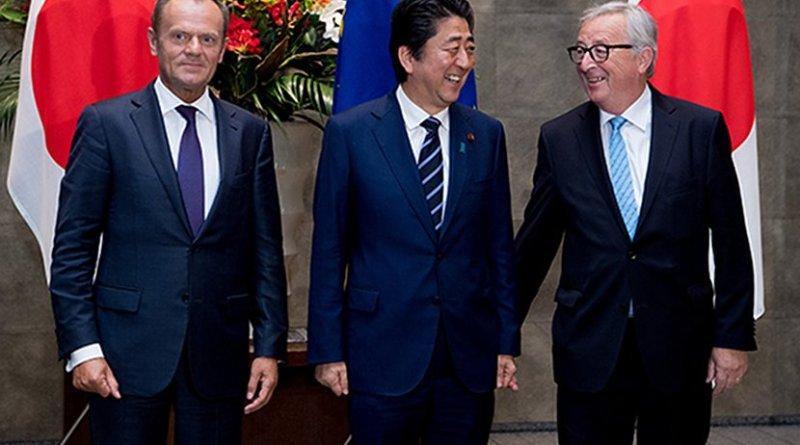 Donald Tusk, Shinzō Abe and Jean-Claude Juncker at the EU-Japan Summit (2018). Photo: Etienne Ansotte / © European Union, 2018.