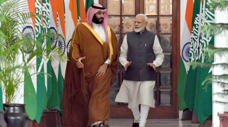 The Prime Minister, Shri Narendra Modi with the Crown Prince, Vice President of the Council of Ministers of Defence of the Kingdom of Saudi Arabia, Prince Mohammed Bin Salman Bin Abdulaziz Al-Saud. Photo Credit: India PM Office