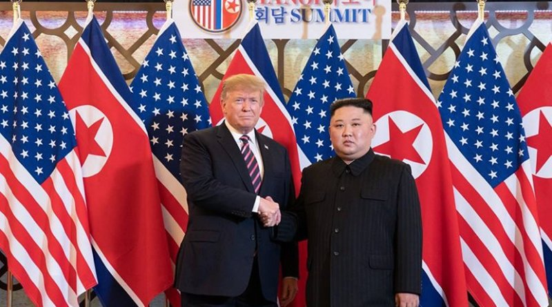 President Donald J. Trump is greeted by Kim Jong Un, Chairman of the State Affairs Commission of the Democratic People's Republic of Korea Wednesday, Feb. 27, 2019, at the Sofitel Legend Metropole hotel in Hanoi, for their second summit meeting. (Official White House Photo by Shealah Craighead)