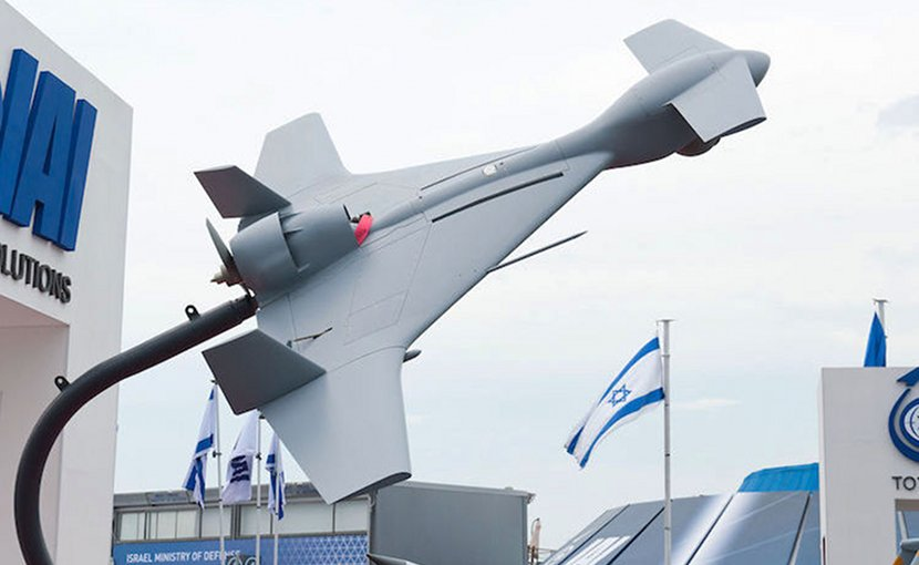 The IAI Harop (or IAI Harpy 2) is a loitering munition developed by the MBT division of Israel Aerospace Industries. It is an anti-radiation drone that can autonomously home in on radio emissions. Rather than holding a separate high-explosive warhead, the drone itself is the main munition. CC BY 4.0.