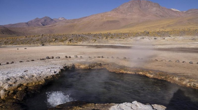 Bacteria were collected from this hot spring in the El Tatio region in northern Chile. Credit Yaroslav Ispolatov