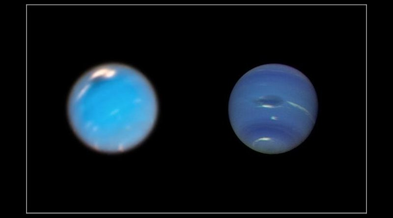This composite picture shows images of storms on Neptune from the Hubble Space Telescope (left) and the Voyager 2 spacecraft (right). The Hubble Wide Field Camera 3 image of Neptune, taken in Sept. and Nov. 2018, shows a new dark storm (top center). In the Voyager image, a storm known as the Great Dark Spot (GDS) is seen at the center. It is about 13,000 km by 6,600 km in size -- as large along its longer dimension as the Earth. The white clouds seen hovering in the vicinity of the storms are higher in altitude than the dark material. Credit NASA/ESA/GSFC/JPL.