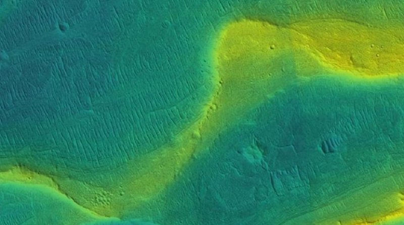A photo of a preserved river channel on Mars, taken by an orbiting satellite, with color overlaid to show different elevations (blue is low, yellow is high). Credit NASA/JPL/Univ. Arizona/UChicago