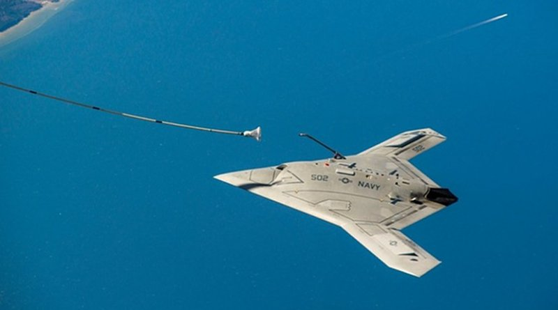 The US X-47B unmanned autonomous aircraft being tested in 2015. U.S. Navy Photo by Liz Wolter