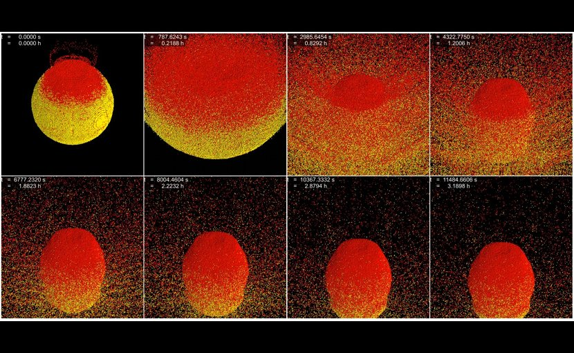 This is a frame-by-frame showing how gravity causes asteroid fragments to reaccumulate in the hours following impact. Credit Charles El Mir/Johns Hopkins University