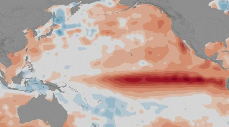 Increased sea surface temperatures in the equatorial Pacific Ocean characterizes an El Niño, which is followed by weather changes throughout the world. Credit NASA Goddard's Scientific Visualization Studio