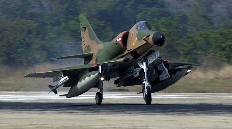 A Republic of Singapore Air Force Douglas A-4SU Skyhawk aircraft. Photo Credit: TSGT James E. Lotz, USAF, Wikipedia Commons