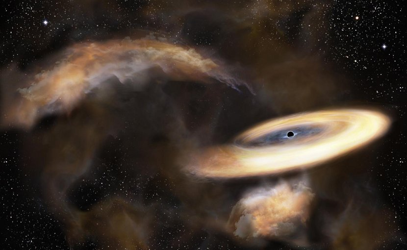 This is an artist's impression of a gas cloud swirling around a black hole. Credit NAOJ