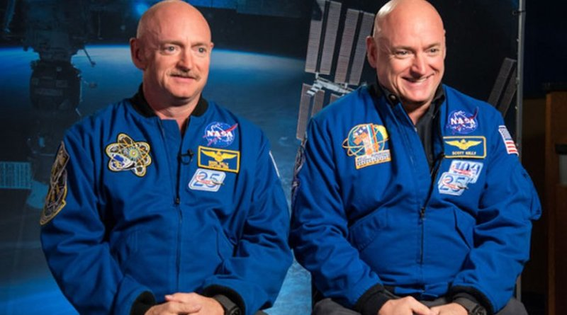 Identical twin astronauts, Scott and Mark Kelly, are subjects of NASA's Twins Study. Scott (right) spent a year in space while Mark (left) stayed on Earth as a control subject. Researchers looked at the effects of space travel on the human body. Credit: NASA