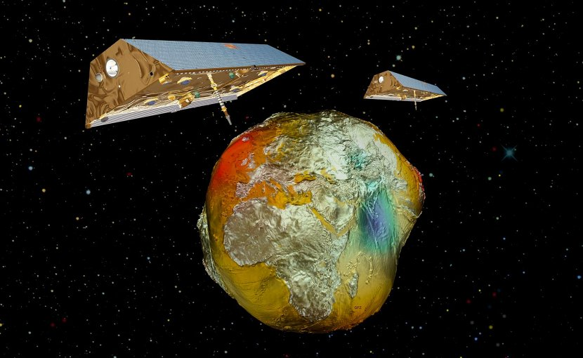 The satellite twins GRACE with the Earth's gravitational field. Credit AIRBUS/GFZ