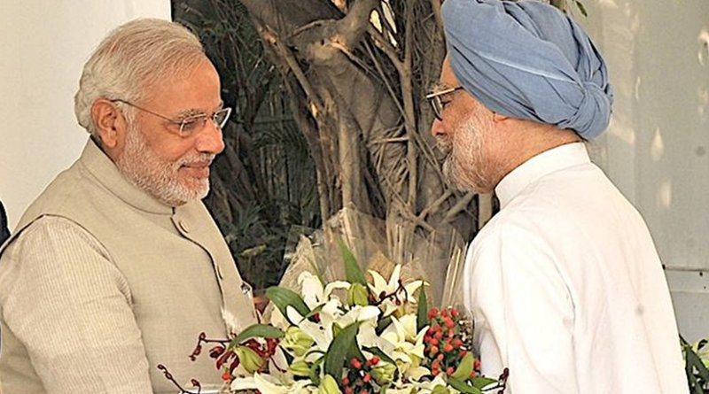 India's Prime Minister Narendra Modi and predecessor Dr.Manmohan Singh. Credit: Prime Minister's Office, Government of India.
