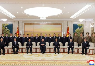 North Korea's Kim Jong Un has photo session with newly-elected members of Party and State leadership bodies. Credit: KCNA.