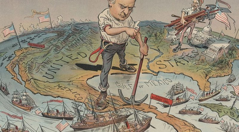The Monroe Doctrine: A satirical political cartoon reflecting America's imperial ambitions following quick and total victory in the Spanish American War of 1898. Credit: Cornell University: Persuasive Cartography: The PJ Mode Collection, Wikimedia Commons.