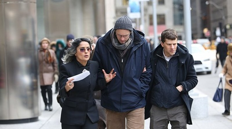 Salma Hayek and Jesse Eisenberg, right, star in 'The Hummingbird Project.' (Photo supplied via Arab News)