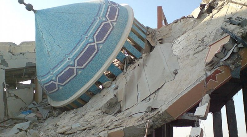 Destroyed mosque in Rafah, Gaza. Photo Credit: ISM Palestine, Wikimedia Commons