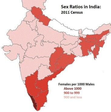 Deep-rooted challenge: While India has made strides to reduce uneven sex ratios at birth, gender bias in mortality rates results in uneven sex ratios among regions (Source: 2011 India census and Maps of India)