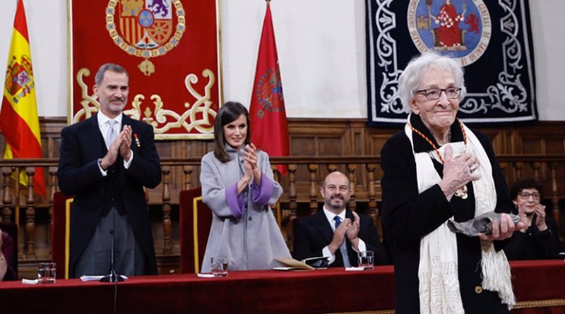 Their Majesties the King and Queen of Spain present the 2018 Miguel de Cervantes Award for Literature in the Spanish Language to the Uruguayan poet and essayist, Ida Vitale. Photo Credit: Casa de Su Majestad el Rey
