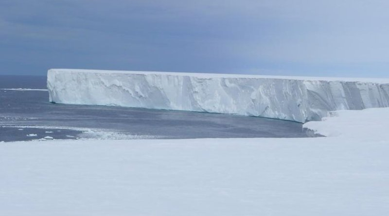 The Ross Polynya where solar heat is absorbed by the ocean. The vertical wall of the ice front stretches a distance of 600 km. Credit Poul Christoffersen