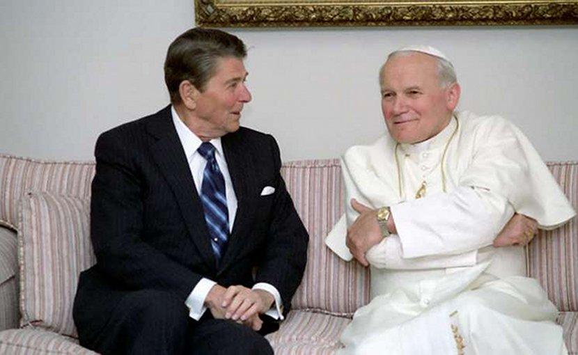 U.S. President Ronald Reagan talks with Pope St. John Paul II. Courtesy U.S. Embassy to the Holy See