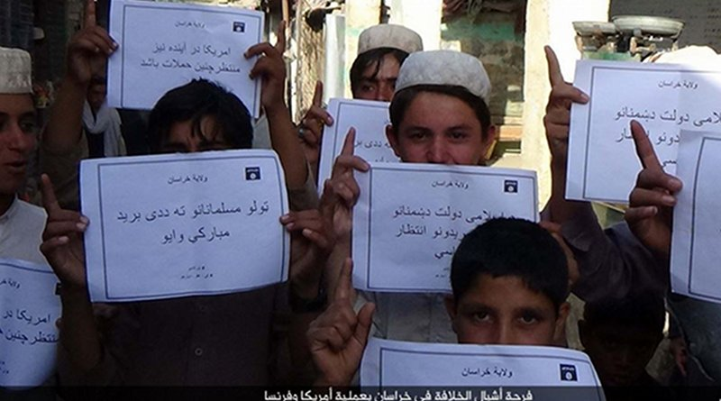"IS social media distributed photos of children holding placards in Islamic State territories offering ""congratulations"" on American deaths, apparently in reference to a Florida shooting, on June 12, 2016. In May 2019, IS is increasing attacks and social media posts."